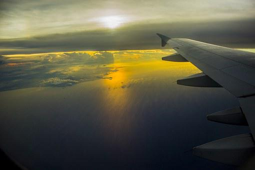 South China Sea, Sky, Aviation, Sun, Plan, Sunset