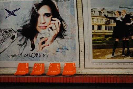 Chairs, Seat, Orange, Plastic, Poster, Wall, Wait