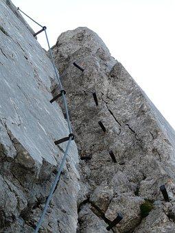 Climbing, Crux, Gamsängersteig, Shoring, Metal, Aid