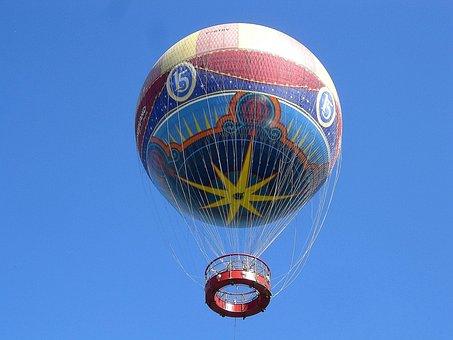 Transport, Hot Air Balloon, Star, Disney, Paris