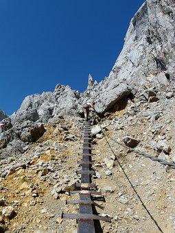 Climbing, Climber, Gamsängersteig, Shoring, Metal, Head