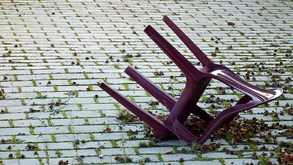Chair, Garden Chair, Patch, Overturned, Old, Seat