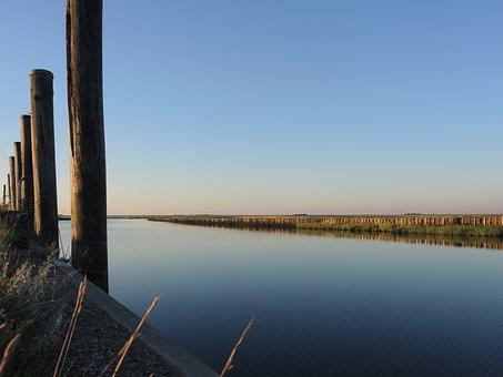 Salt Marshes, Koog, Port, North Sea, Water, Silent