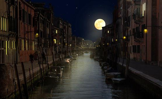 Venice, Night, Channel, Holiday, Romantic, Light, Moon