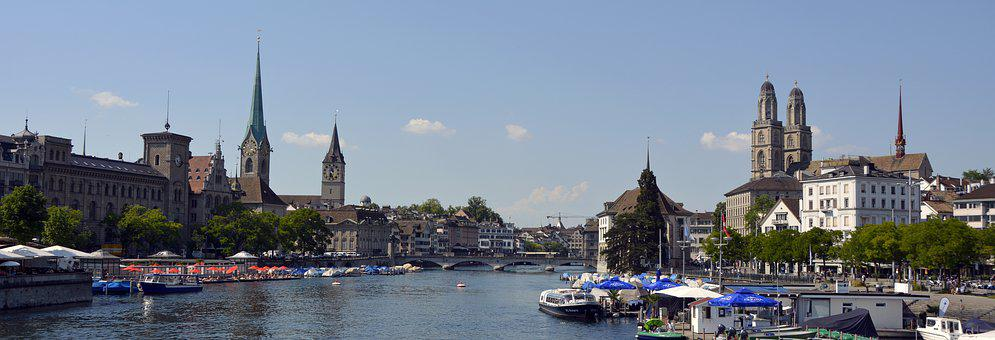 Zurich, Limmat, River, Water, Grossmünster