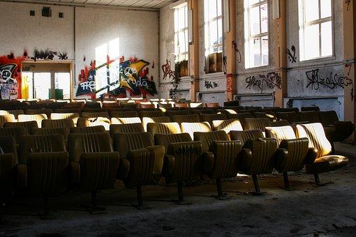 Destroyed, Abandoned, Cinema, Old, Graffiti, Notch
