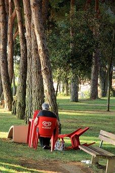 Chair, Red, Plastic, Sit, Man, Seat, Still Life, Shadow