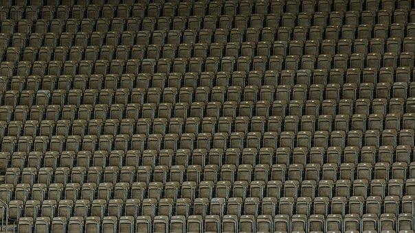 Stadium, Seating, Monotony, Empty, Plastic, Chair, Row
