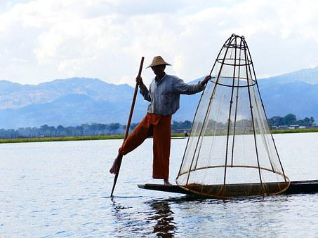 Single-leg-rowers, Fisherman, Rowing, Bamboo Basket