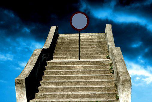 Old, Concrete, Stairs, Going, Blue, Cloudy, Sky, Sign