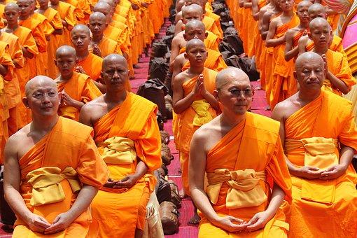Monk, Buddhists, Sitting, Elderly, Old, Bald, Tradition