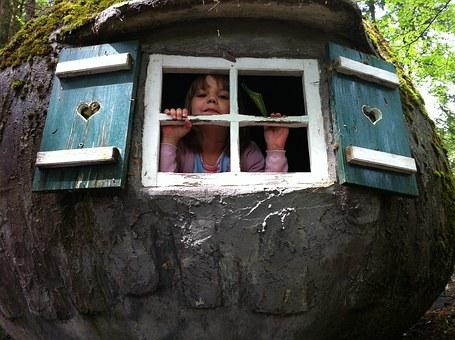 Children, Play, Treehouse, Window, Fairy Tale Park