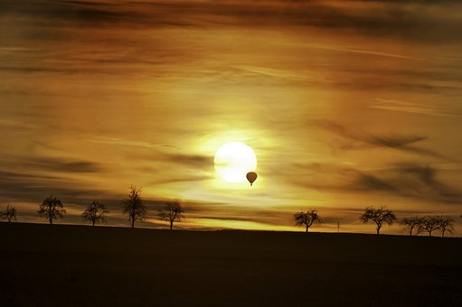 Sunset, Balloon, Trees, Sky, Landscape, Clouds
