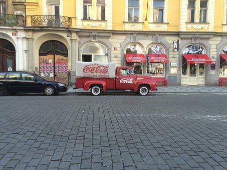 Prague, Coca Cola, Van, Street, Delivery Man, Old Truck