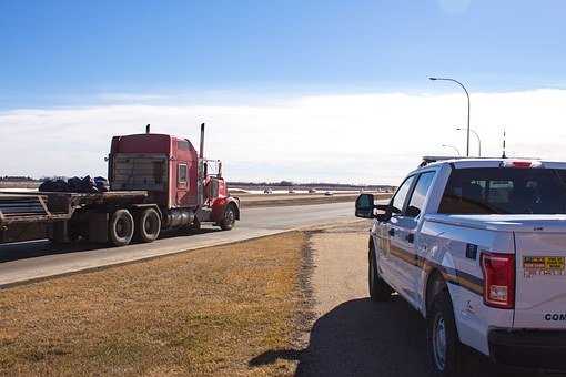 Police, Truck, Semi, Semi-truck, Drive, Vehicle