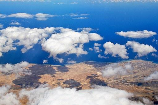 Heaven, Clouds, Desert, Sand, View From Airplane