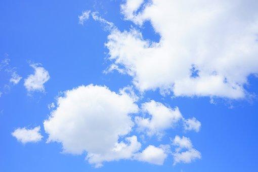 Cumulus Clouds, Clouds, Sky, Summer Day, Blue, White