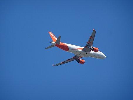 Aircraft, Wing, Rear, Aviation, Blue Sky