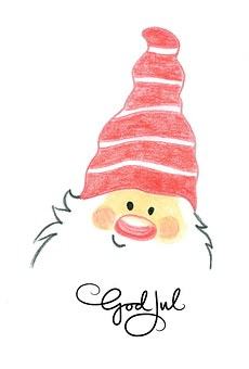Santa Claus, Claus, Red, Hat, Beanie, Children, Drawing