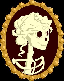 Cameo, Jewelry, Girl, Dead, Skeleton, Skull, Katrina