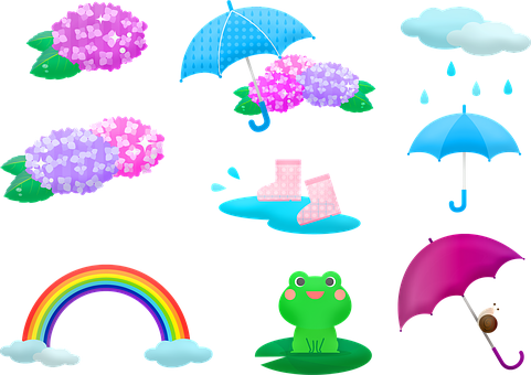 Kawaii Frog, Rainy Season, Japanese, Seasonal, Asian