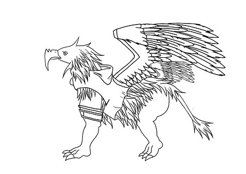 Griffin, Monster, Line Art, Wings, Legendary Creature
