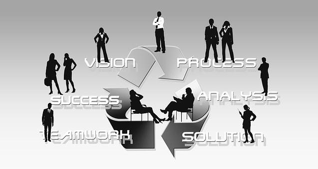Businessmen, Silhouettes, Man, Woman, Economy