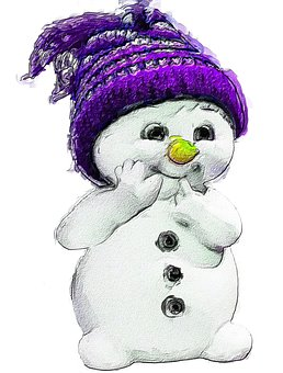 Snowman, Purple, Snow, Winter, Christmas, Hat
