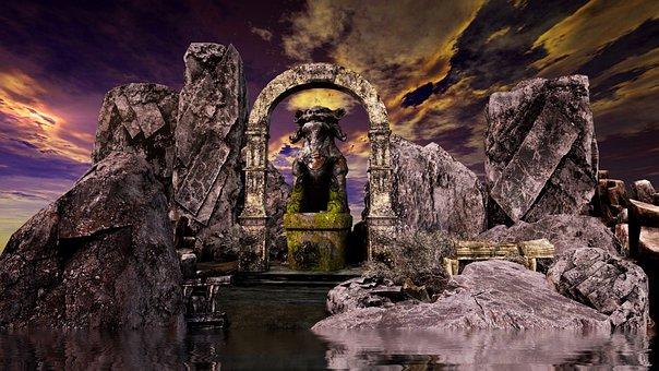 Ancient, Fantasy, Landscape, Statue
