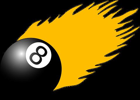 Ball, 8, Fire, Flame, Black, Pool, Billiard, Yellow