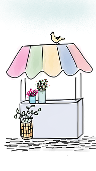 Flower Booth, Flower Stand, Flowers, Booth, Stand, Bird
