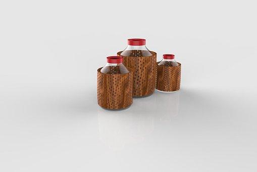 Bottles, 3d, Drink, Design, Interior, House, Wood