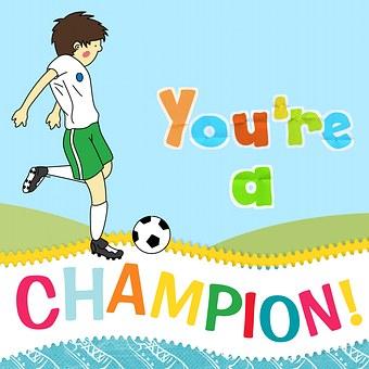 Sport, Greeting Card, Field, Soccer, Champion, Winning