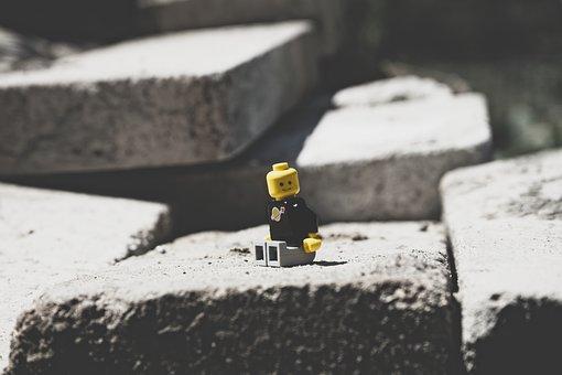 Lego, Stone, Contrast, Shadow, Yellow