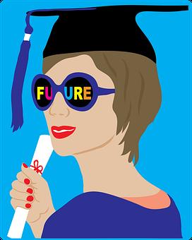 Student, Graduate, Bright Future, Sunglasses, Cap