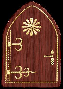 Fairy Door, Wood, Gold Foil, Garden