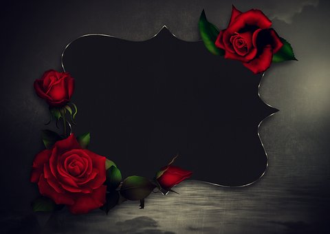 Roses, Frame, Romantic, Background, Love, Gothic