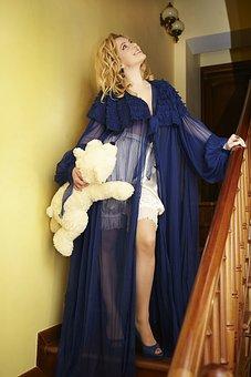 Pajamas, Teddy-bear, Ladder, Model, Girl