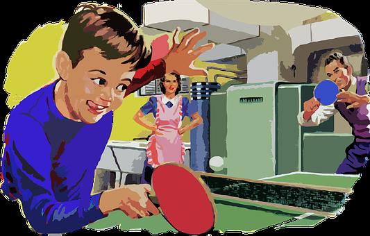 Retro, Vintage, Family, Table, Tennis, Game, Boy, Mom