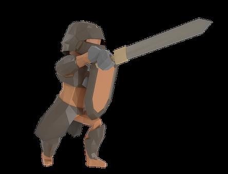 Knight, Lowpoly, 3d, Armor, Sword, Shield, Warrior