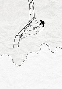 Painting, Creativity, Imagination, Sky, Ladder