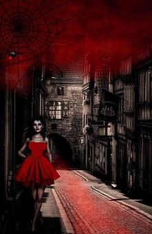 Vampire, Gloomy, Blood, Spider, Web, Fantasy, Road