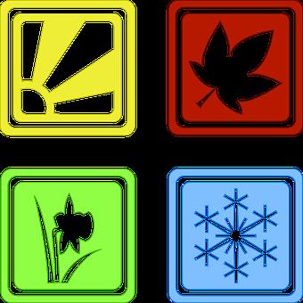 Seasons, Four, Symbols, Year, Spring, Summer, Winter