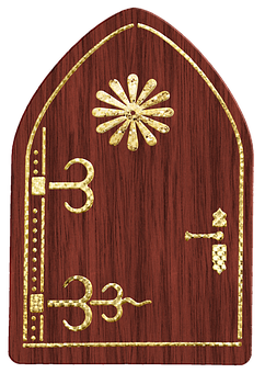 Fairy Door, Wood, Gold Foil, Garden, Landscape, Fantasy