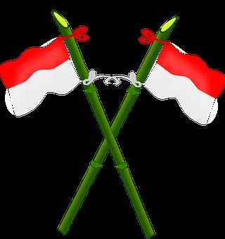 Flagpole, Bamboo, Flag, Indonesia, National