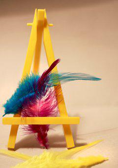 Art, Pen, Easel, Feathers, Design, Retro, Decorative