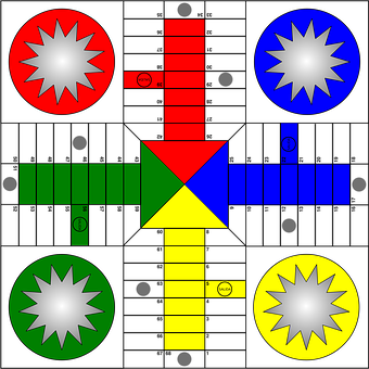 Ludo, Board, Game, Play, Token, Red, Green, Blue