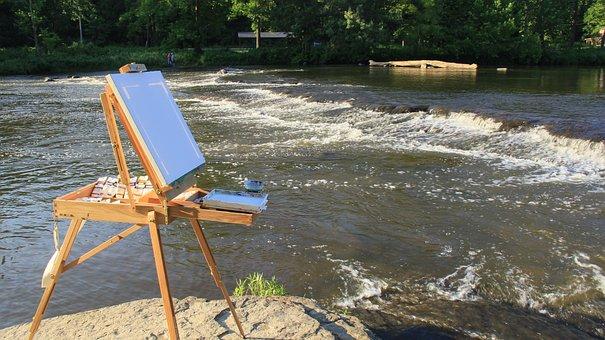 Easel, Art, River, Painting, Painter, Hobby, Plein-air