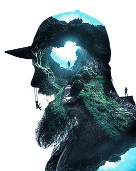 Silhouette, Man, Person, Profile, Cave, Beard, People