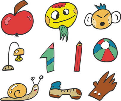 Funny Face, Apple, Number, One, Snail, Pencil, Ball